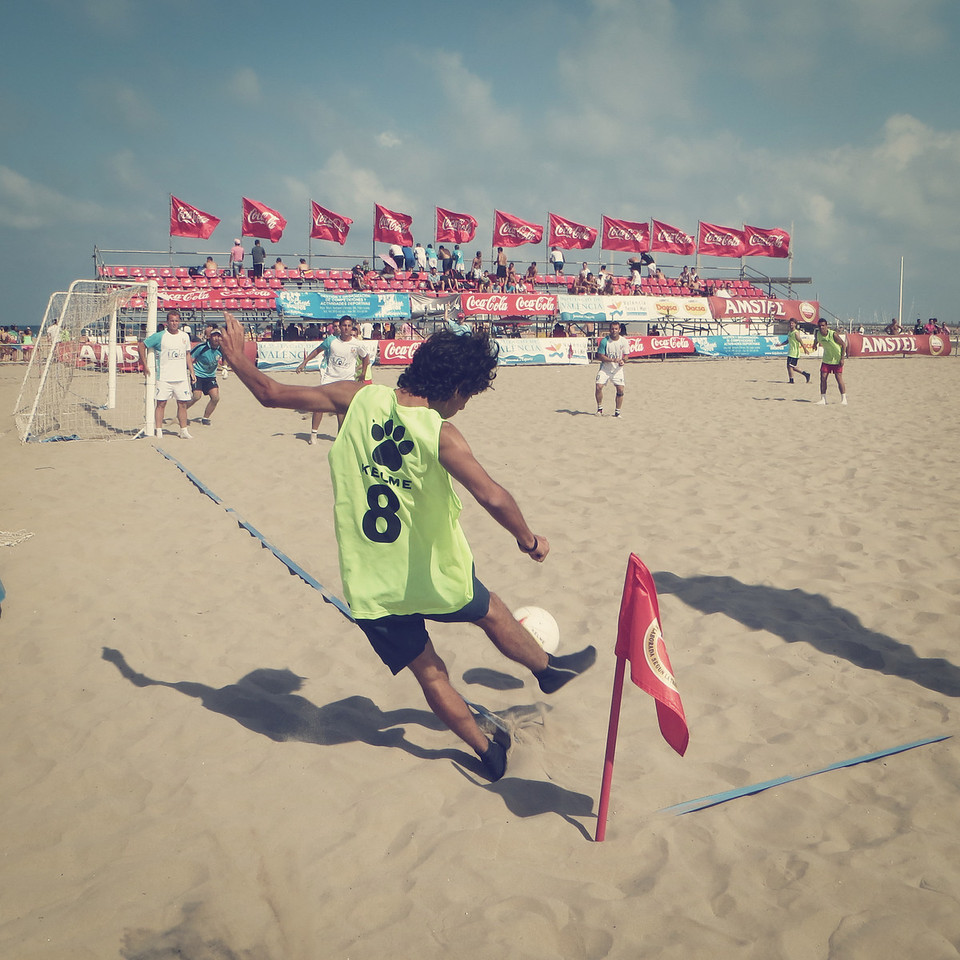 Sand Soccer at Valencia, Spain Beach on August 7, 2012.