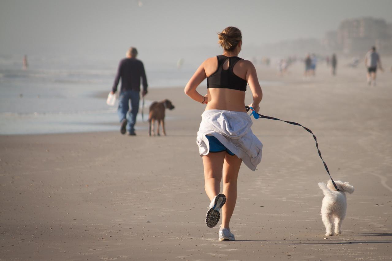 Jogging on Jacksonville Beach