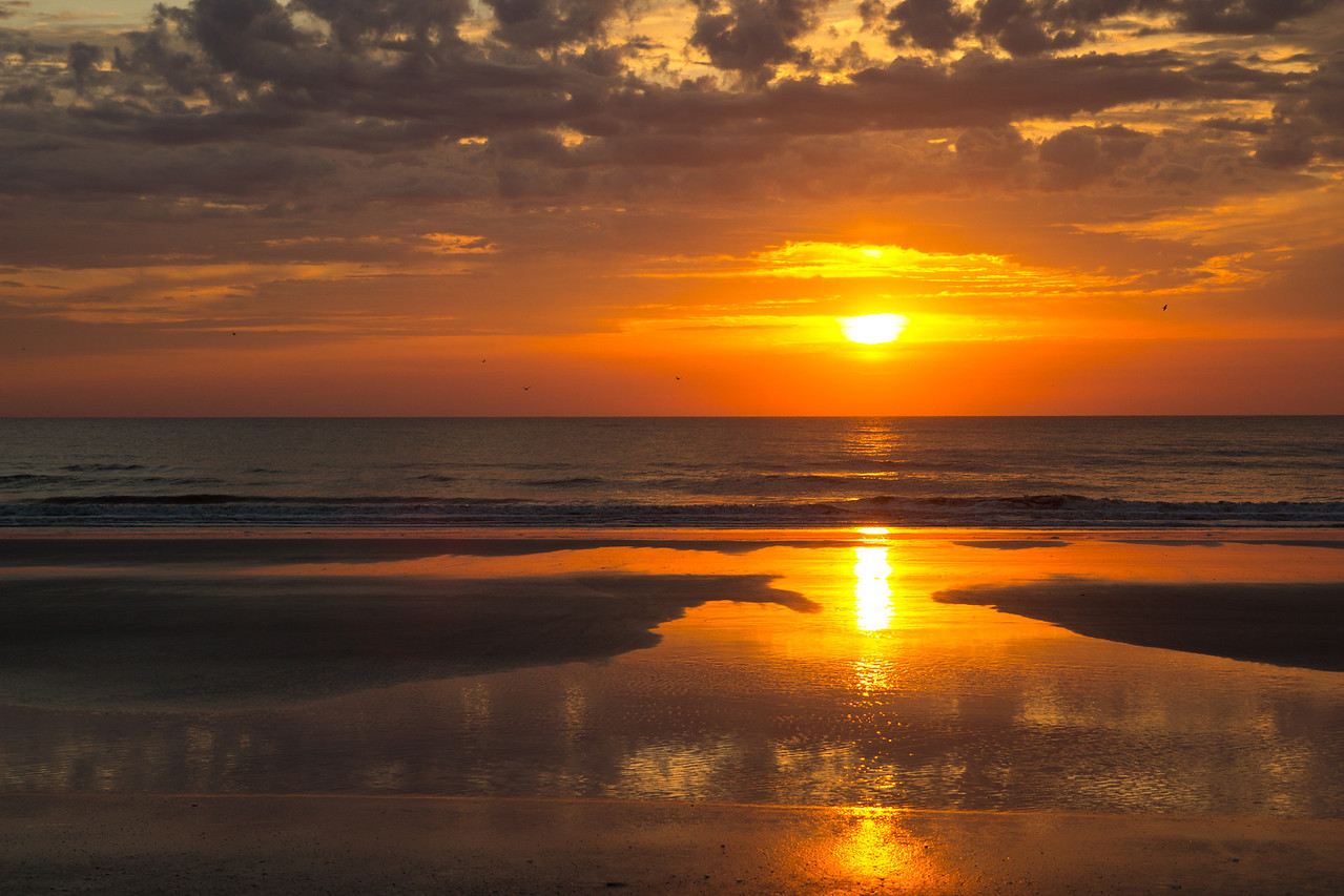 Sunrise on March 31, 2013 in Jacksonville Beach, Florida USA.