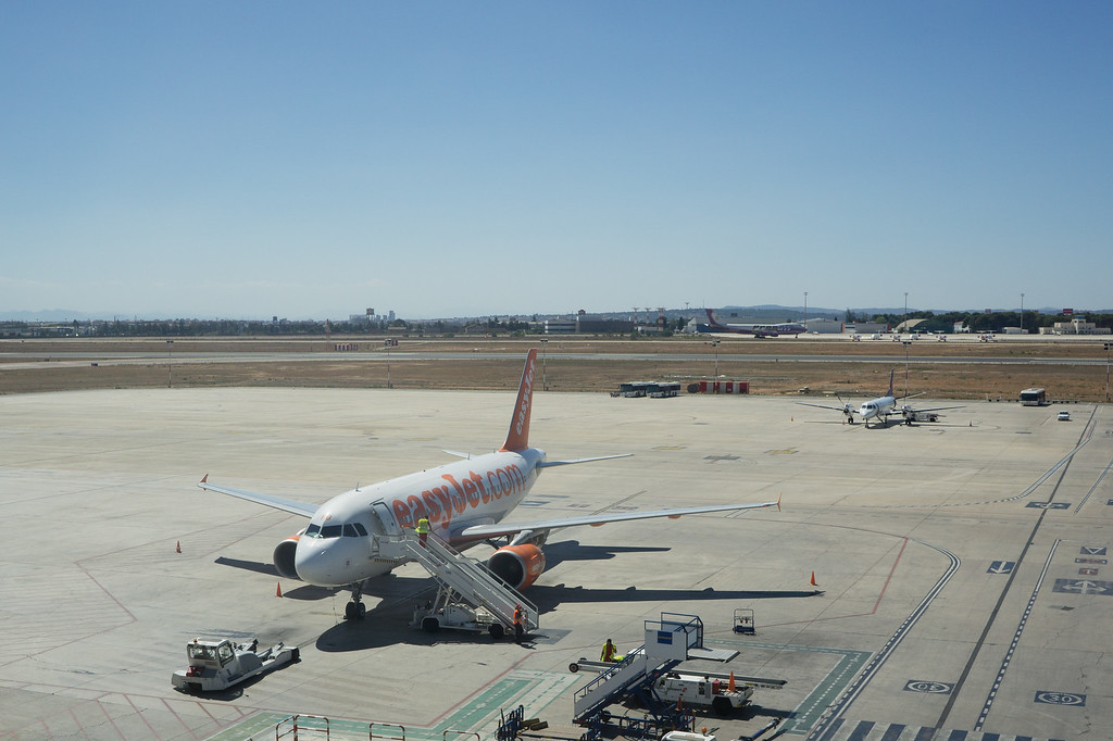 An EasyJet airliner at the airport in Valencia, Spain.