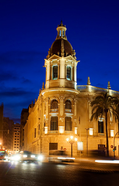 Night Traffic in front of the City Hall in Valencia, Spain