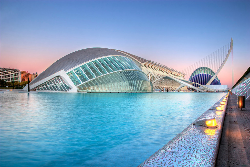 VALENCIA, SPAIN - November 3: Early evening scenery of the Hemisferic,  the Museo de las Ciencias Principe Felipe and the Agora during the Valencia Open 500 of Tennis on November 3, 2009 in Valencia, Spain.