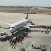 Valencia, Spain: Passengers boarding a Ryanair flight.